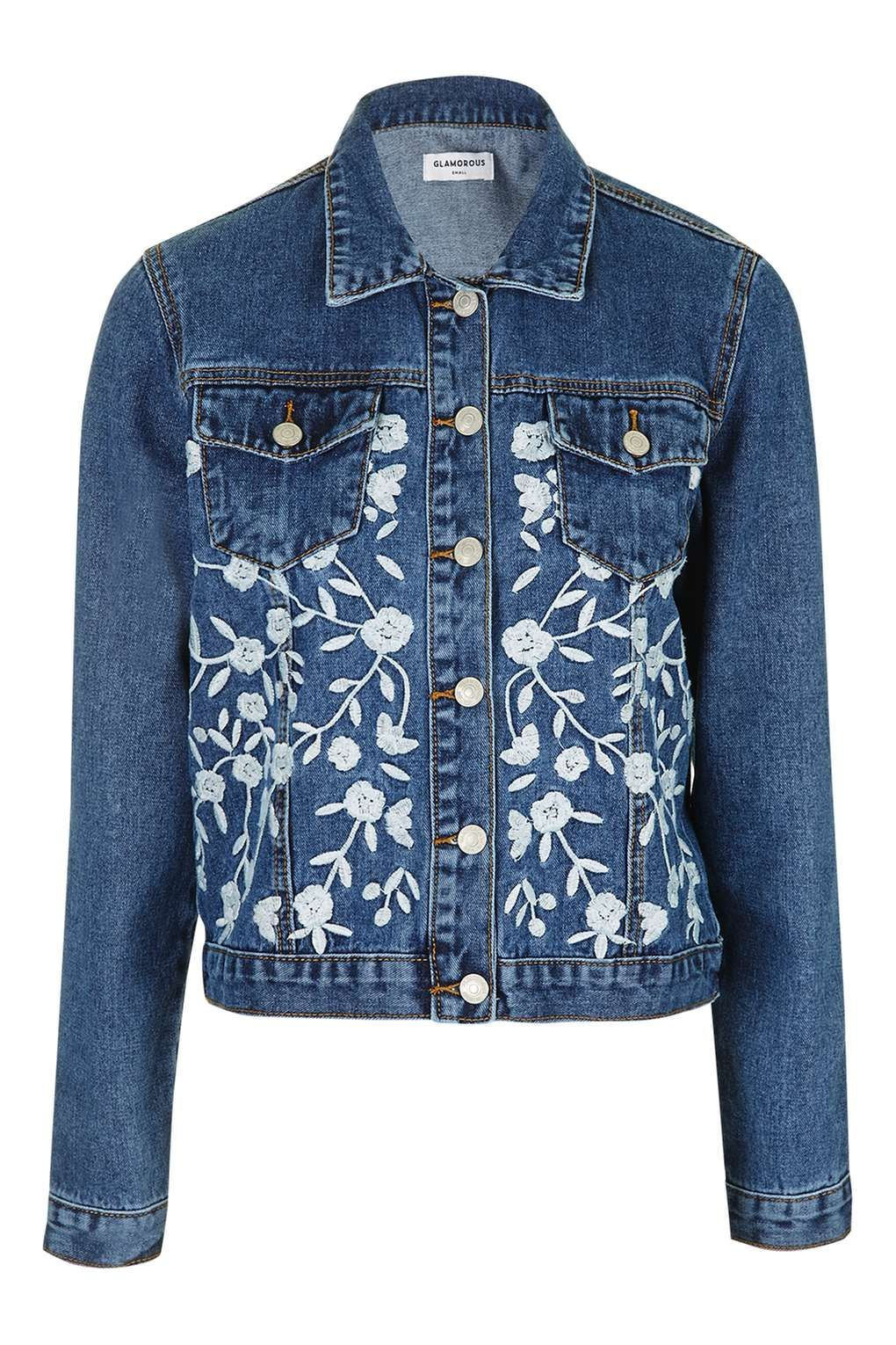 **Embroidered Denim Jacket by Glamorous