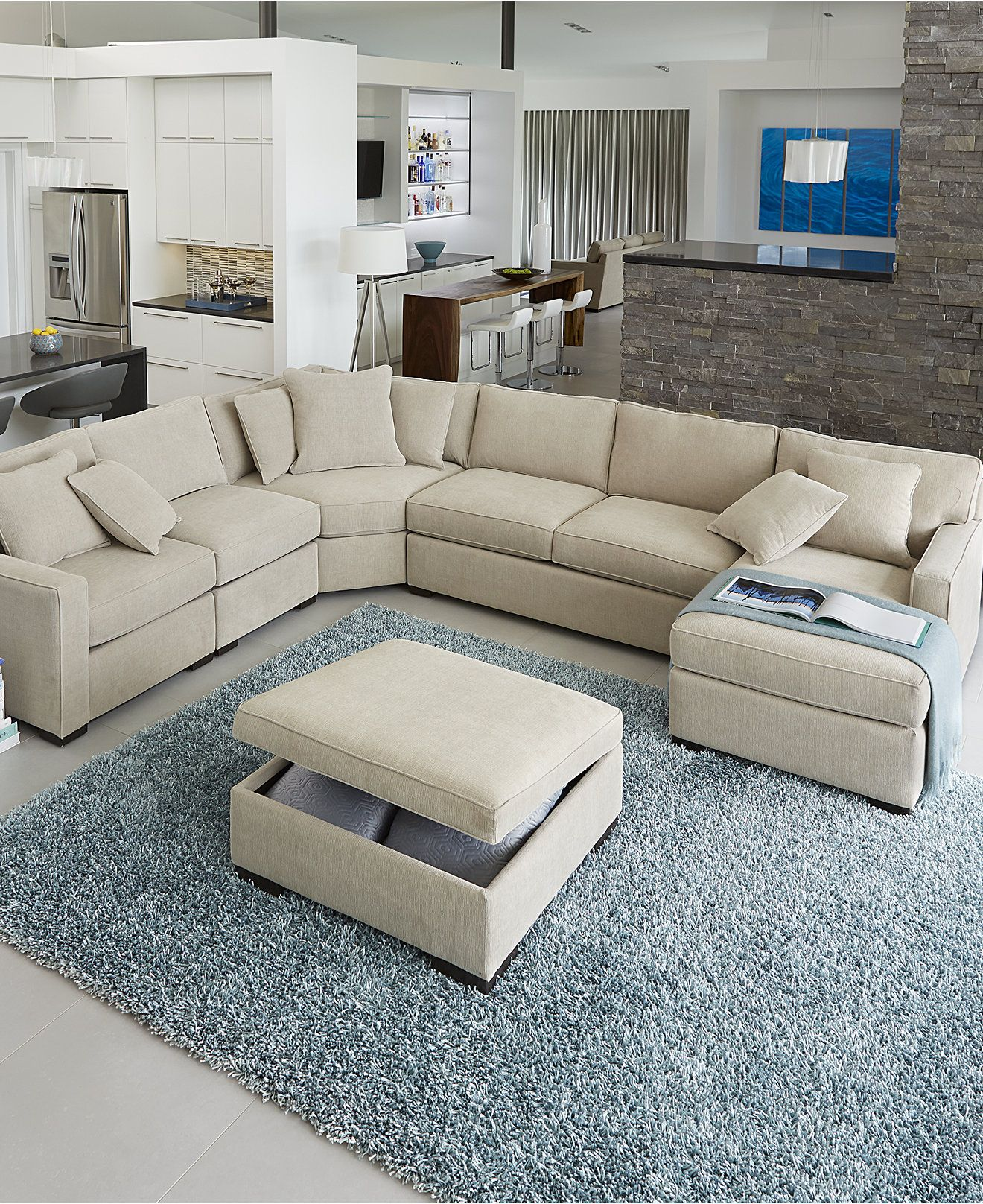 Furniture Living Room Seating Sectionals Beige