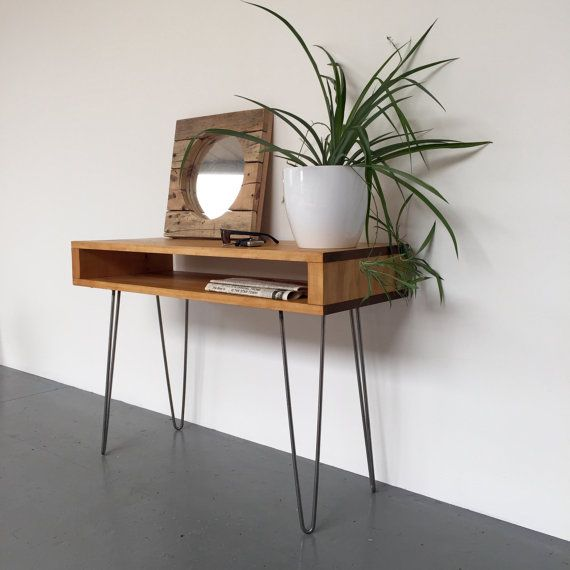 oldfield laptop desk or hall console dressing table sideboard solid wood on metal hairpin legs. Black Bedroom Furniture Sets. Home Design Ideas
