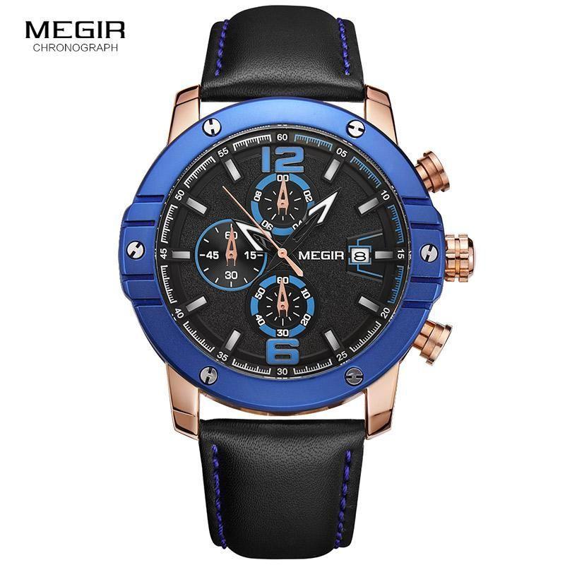 Megir Chronograph Big Round Dial Leather Strap Sport Quartz Watch
