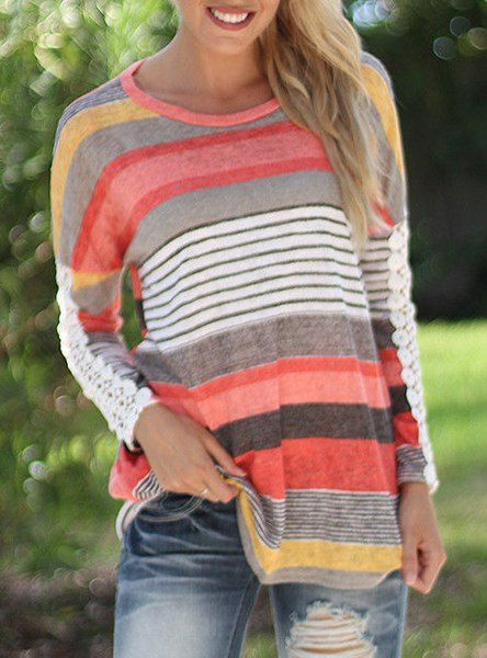 Casual Lace Spliced Long Sleeve Colorful Stripe Print T-Shirt For Women