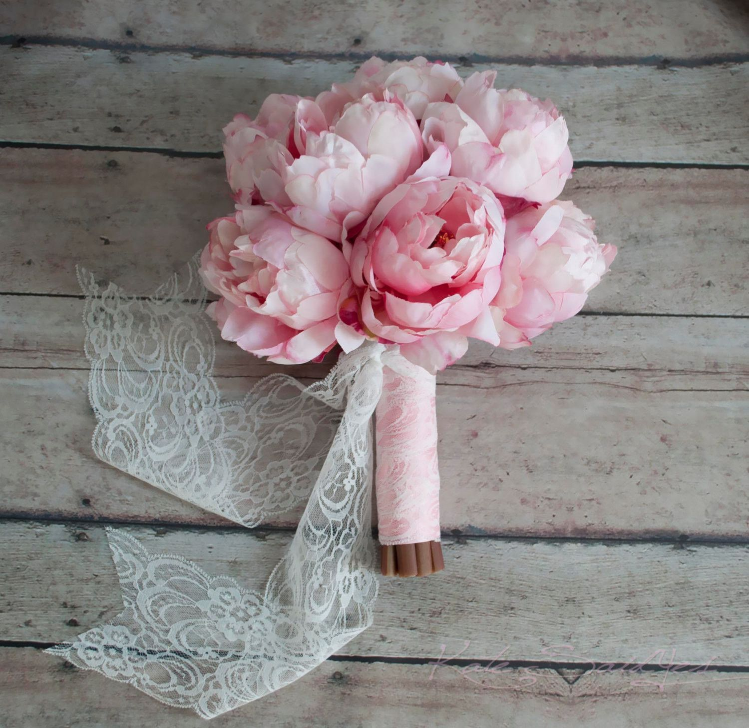 Blush pink peony bouquet with blush pink and lace handle
