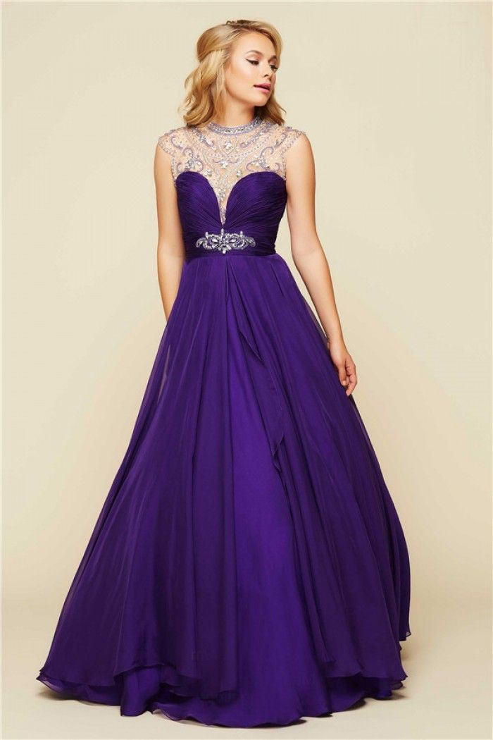 Ball Gown High Neck Open Back Long Purple Chiffon Beaded Prom Dress ...