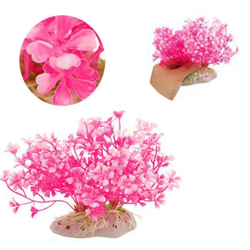 New Fish Tank Aquarium Pink Aquatic Dwarf Flower Plastic Plant Ornament Decor | eBay