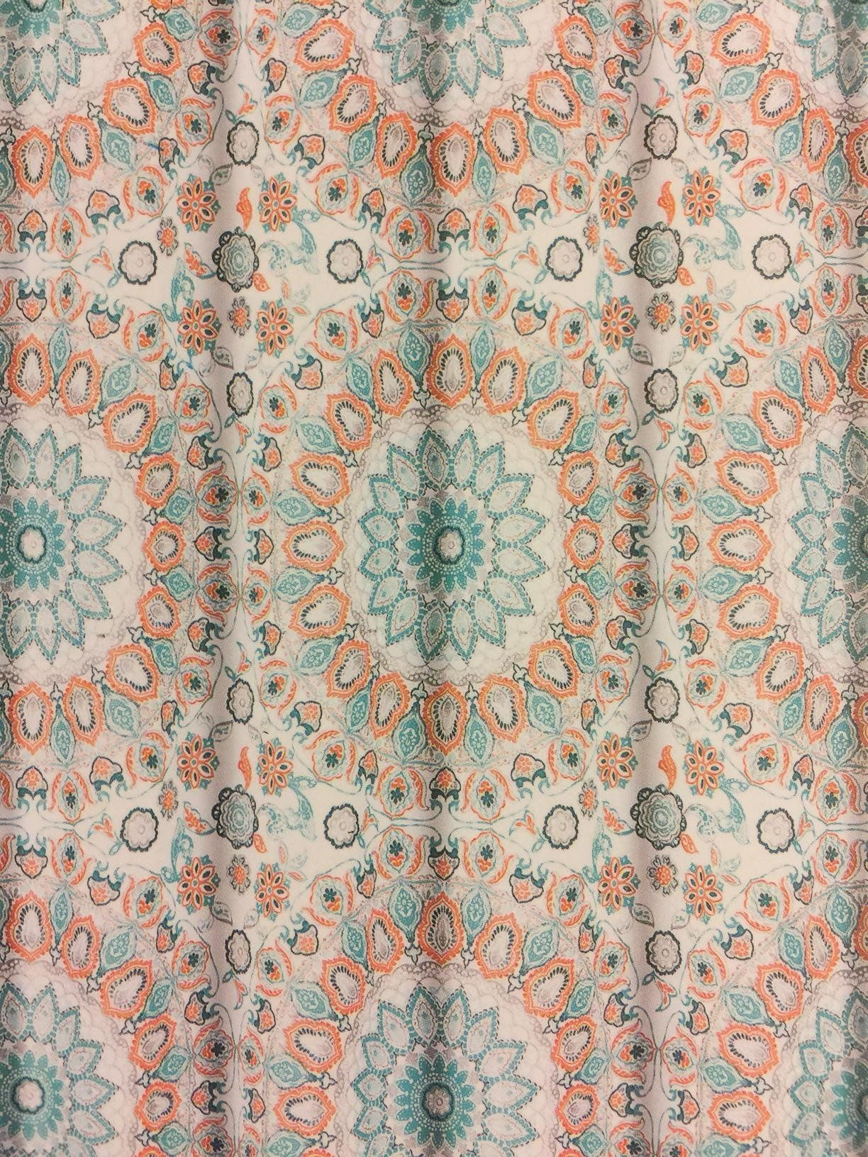 Cynthia rowley medallion shower curtain - Cynthia Rowley Teal Turquoise And Tangerine Tapestry Medallion Shower Curtain