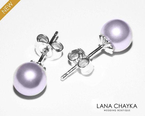 Lavender Pearl Stud Earring Swarovski 6mm 925 By Lanachayka
