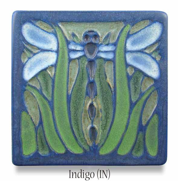 Meadow dragonfly tile in indigo
