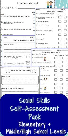 Social Skills Self-Assessment Pack-2nd Edition Goal settings - student self assessment
