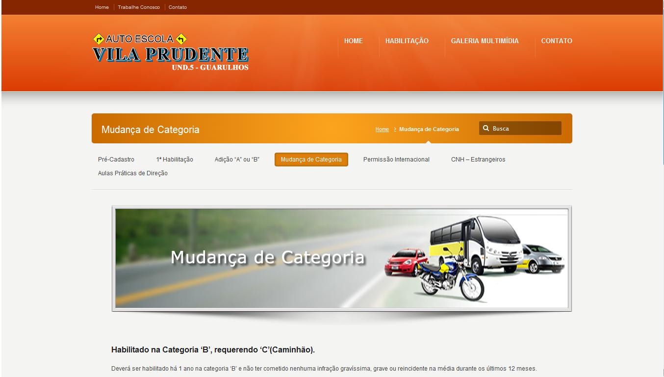 Página de Mudança de Categoria da Auto Escola Vila Prudente - Guarulhos