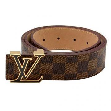 Louis Vuitton Brown Damier Leather Golden Buckle Lv Initiales Be Louis Vuitton Mens Belt Louis Vuitton Belt Leather Belts Men