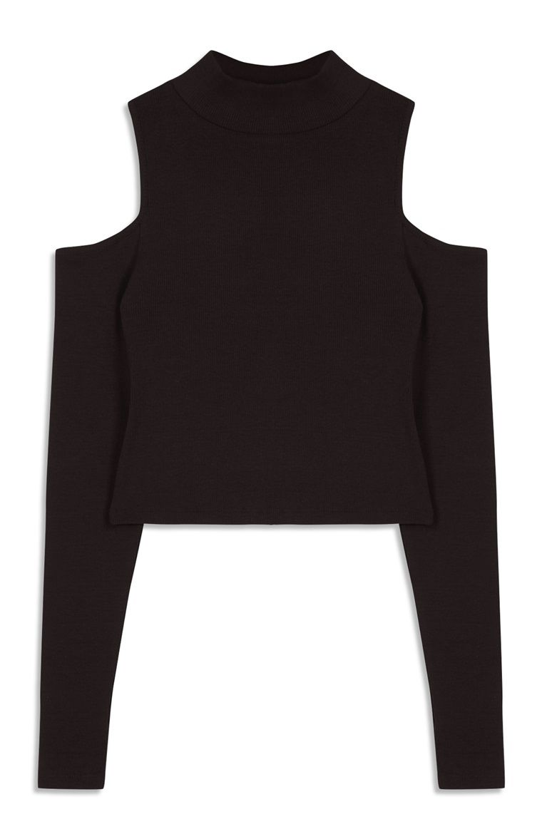 8a40f34b8594b Primark - Black Cold Shoulder Long Sleeve Top | Camisetas ✌ in 2019 ...