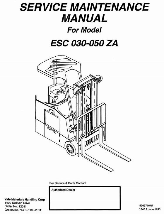 yale electric forklift truck esc030za esc035za esc040za esc050za rh pinterest com yale forklift parts service manual yale electric forklift repair manual