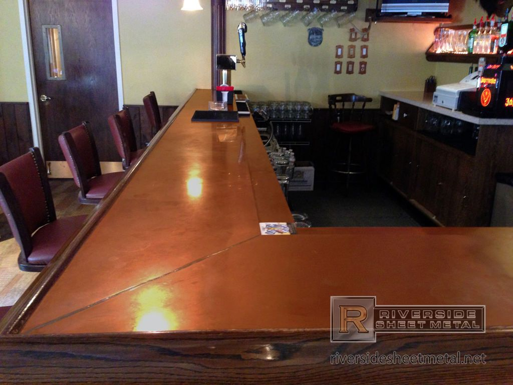 Copper Top Bar With Beer Tray And Soldered Seam Not Welded
