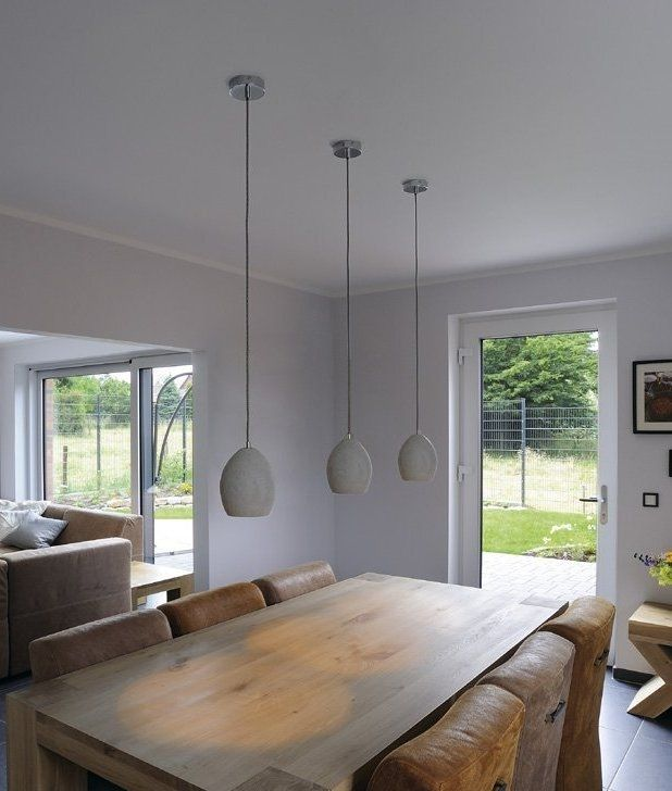 Concrete Elongated Single Pendant Light Lights Over Dining Table Kitchen Lighting Over Table Modern Dining Room Tables