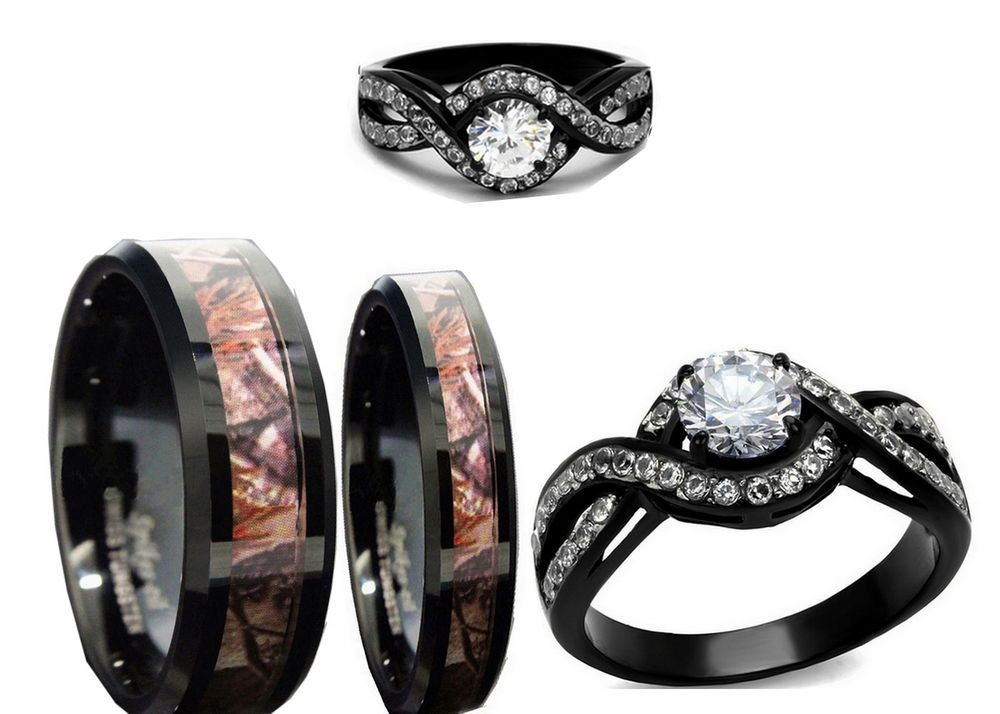His 8mm And Her Tungsten 6mm Camo Black And Brown Wedding Engagement Ring Set Camo Wedding Rings Sets Wedding Rings Prices Camo Wedding Rings