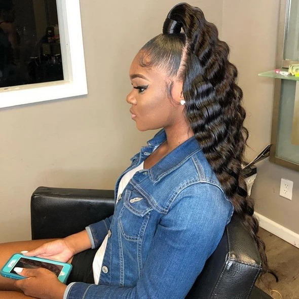 Black Lace Frontal Straight Wigs Bone Straight Wig Wcwigs Hair Ponytail Styles Natural Hair Styles Long Hair Styles