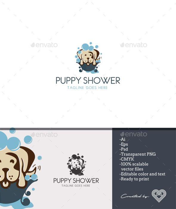 Puppy Shower Logo Template PSD, Vector EPS, AI Illustrator   Logo ...