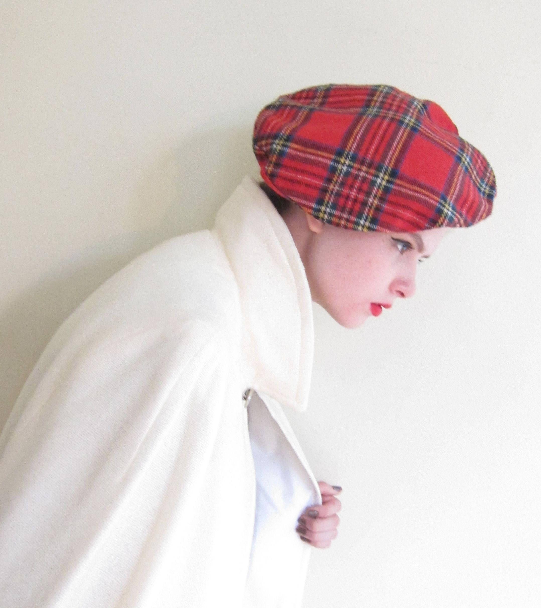 6650c818de350 Vintage 1960s Red Plaid Tam Hat   60s Tartan Wool Beret Hat England English  Mod British Neiman Marcus by BasyaBerkman on Etsy