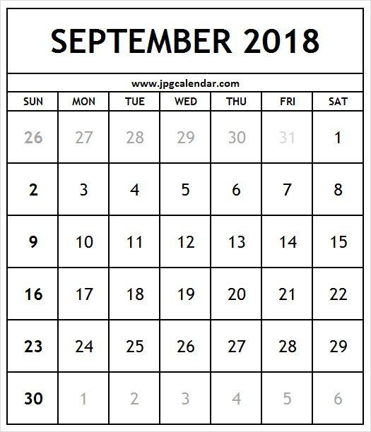 Blank September 2018 Calendar A4 Size JPG Calendar Pinterest