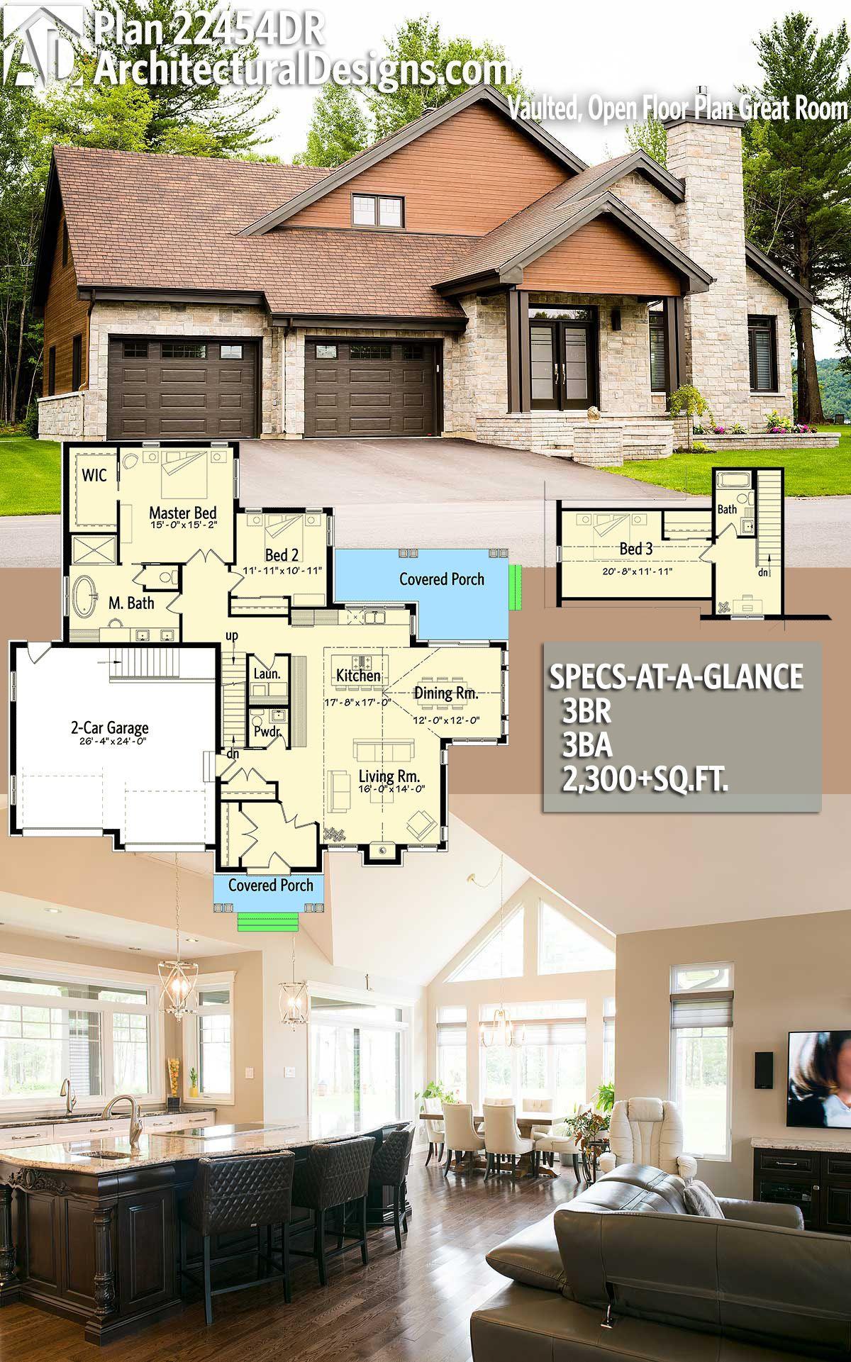 Plan 22454DR Vaulted Open Floor Plan Great