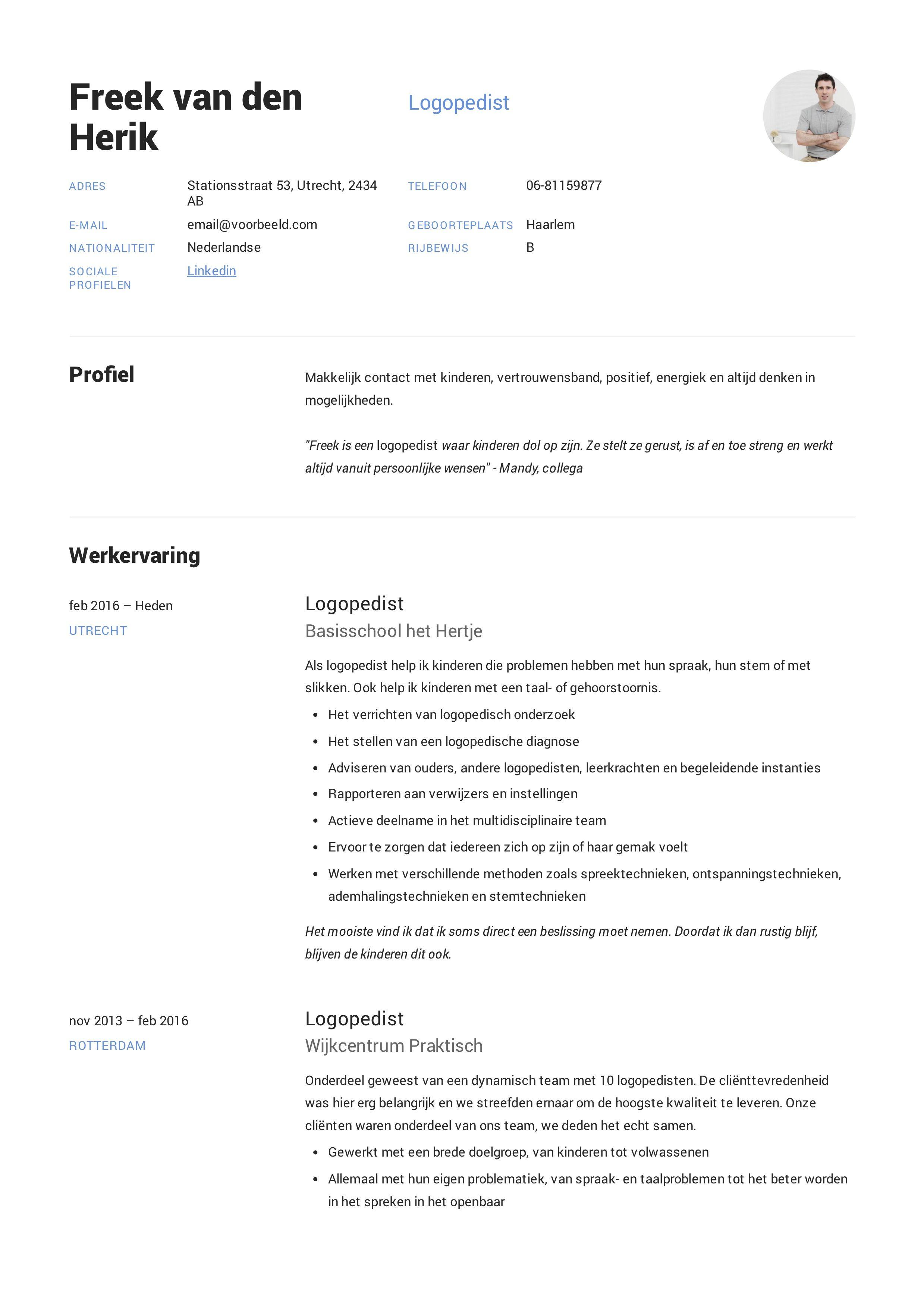 CV Logopedist in 2020 Cv ontwerp, Positief, Beroepen