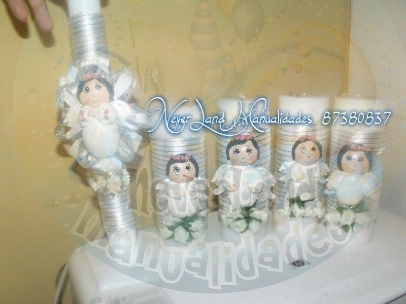 velas decoradas bautizos comuniones by claudia vargas