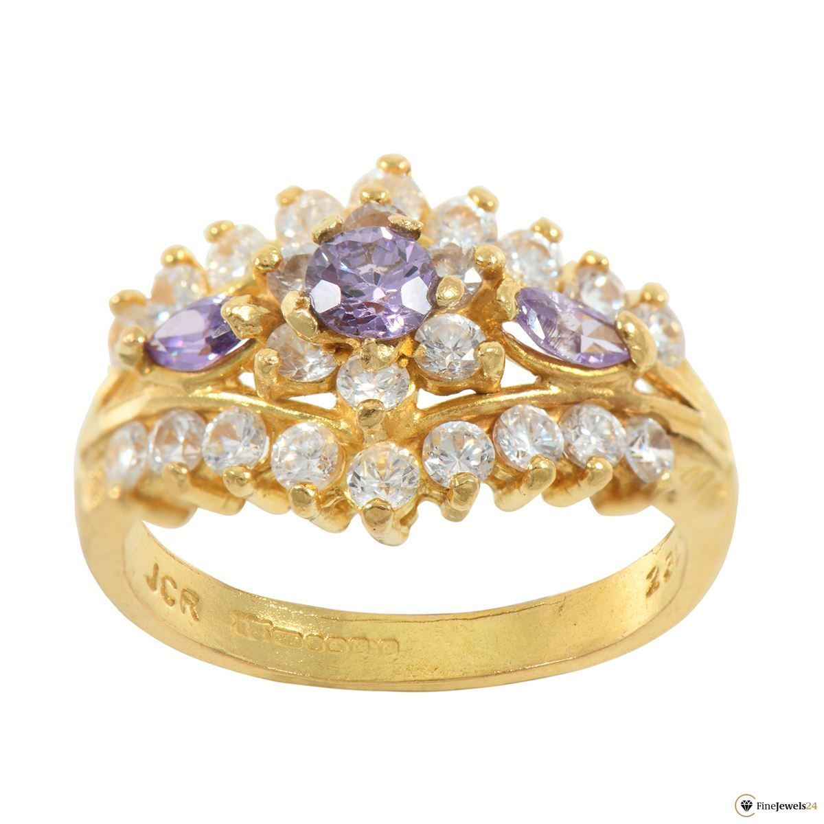 22ct yellow gold cluster ring ladies amazing jewelry