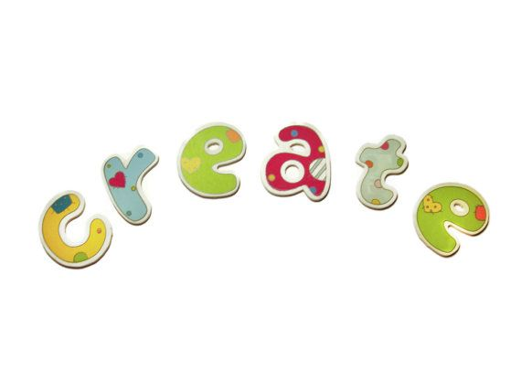 Wooden Alphabet Letters Colorful wood Letters by ShopToCreate, $1.20