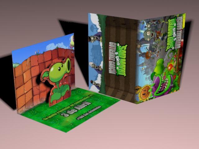 Invitación 3d Plantas Vs Zombies Invitaciones De Fiesta