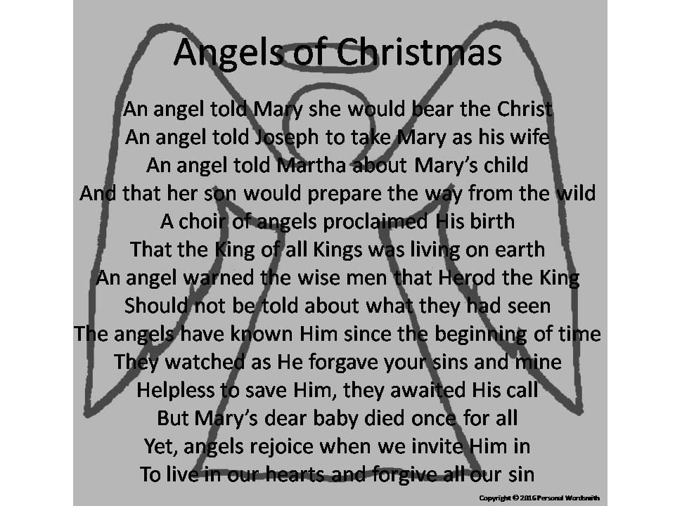 Angels of Christmas Poem Digital Print, Downloadable