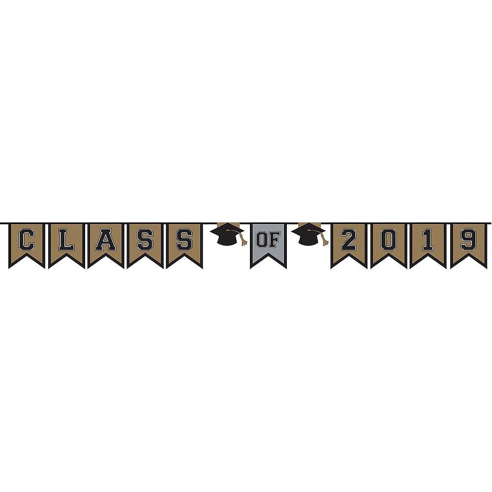 Black, Gold & Silver Class of 2019 Graduation Pennant Banner 12ft x