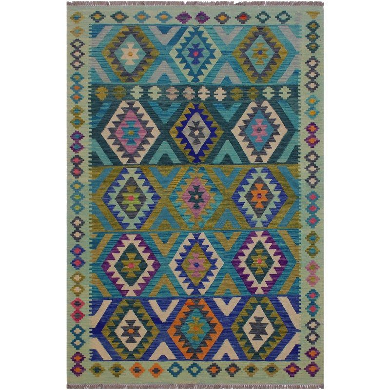 Boho Chic Kilim Amie Green Blue Hand Woven Wool Rug 4 11 X 6 10 Handmade Kilim Wool Rug Flat Woven Rug