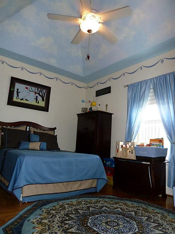 Boy's Bedroom - vaulted ceiling with cloudy sky mural and ...