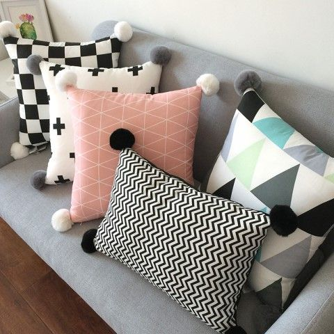 Black And White Decorative Pillows With Pom Poms For Couch Geometric Beauteous White Decorative Pillows For Couch