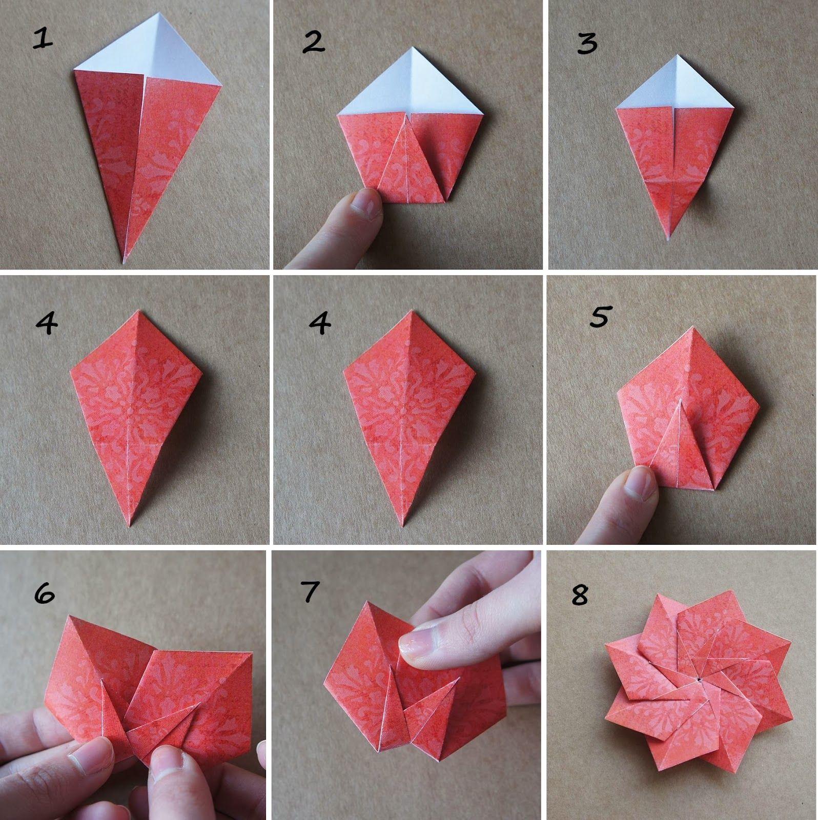 Origami 8 Petal Flower G Pinterest Origami Origami 8