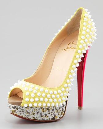 Lady Peep Spike Red Sole Pump, Canary by Christian Louboutin at Neiman Marcus. Design works No.1804 |Green Heels|