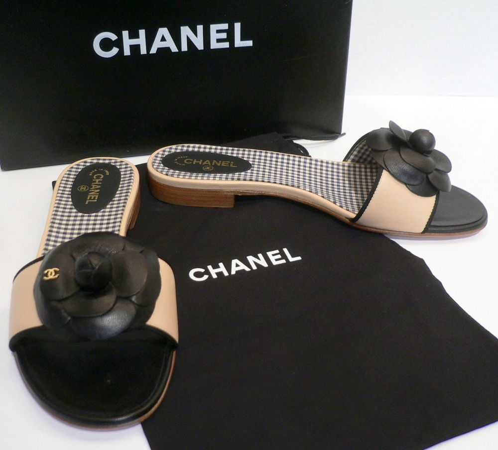 c07d3f9c26a CHANEL Black Beige Leather Camellia Gold Logo Mules Slippers Shoes Bag Box  MINT!