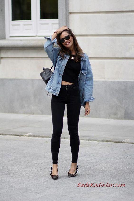 2019 Sik Kombin Onerileri Siyah Skinny Kot Pantolon Kisa Kolsuz Bluz Mavi Kot Ceket Siyah Stiletto Ayakkabi Kot Ceket Skinny Siyah Kot