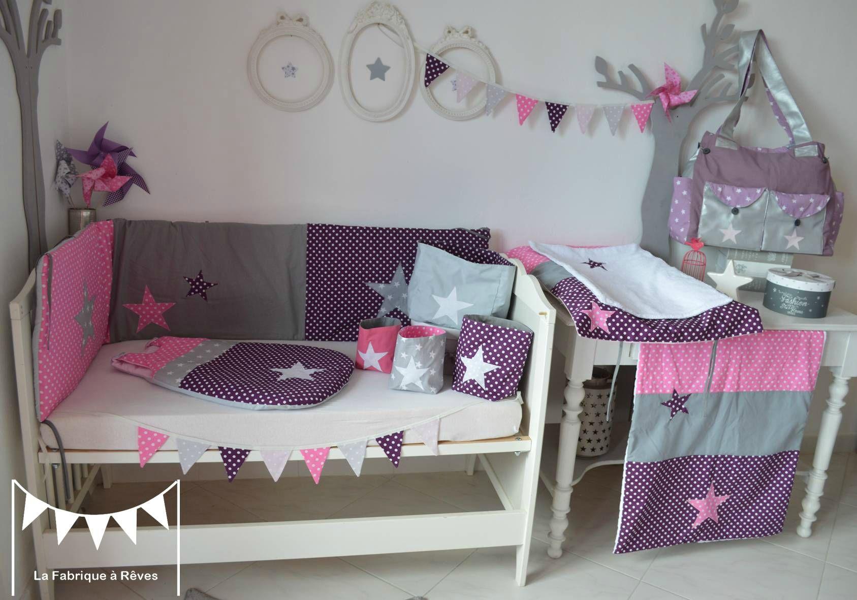 décoration chambre bébé fille blanc violet rose vif gris pois ...
