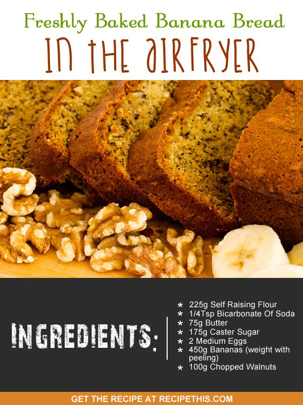 Recipe This Freshly Baked Banana Bread In The Air Fryer Recipe Air Fryer Recipes Baked Banana Air Fried Food