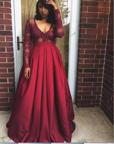 Wine Red Burgundy African Black Girl Prom Dresses Scoop Lace Accents