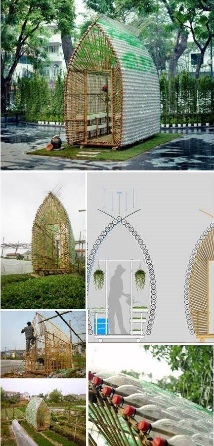 Diy greenhouse using plastic bottles mobiliario pinterest jardiner a invernadero y - Invernadero casero terraza ...