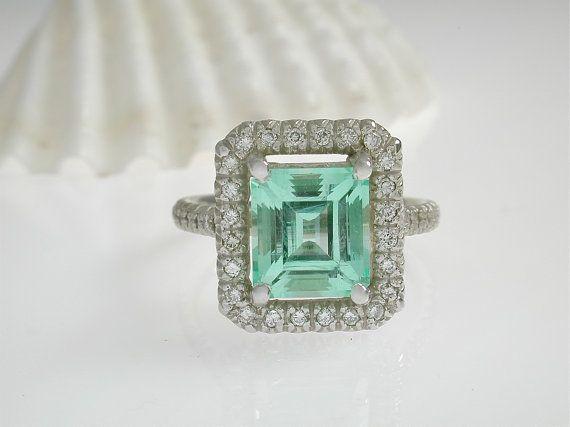 Unique Emerald Halo Ring - Mint Green Emerald Diamond Halo Ring -  Alternative Engagement Ring -