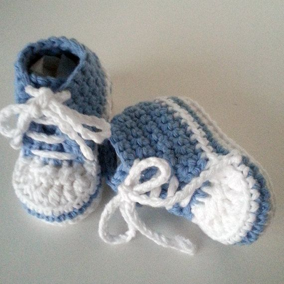 Crochet baby sneakers/Baby converse shoes/Baby tennis shoes/High top ...