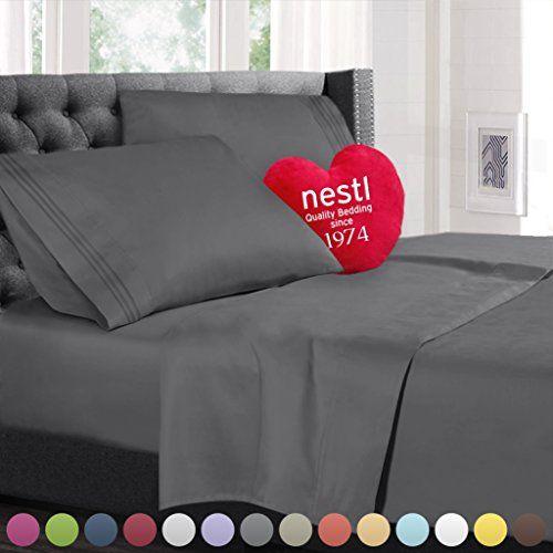 King Size Bed Sheets Set Gray Best Offer. Best Price King Size Bed Sheets  Set Gray, Highest Quality Bedding Sheets Set , 4 Piece Bed Set, Deep Pockets  ...