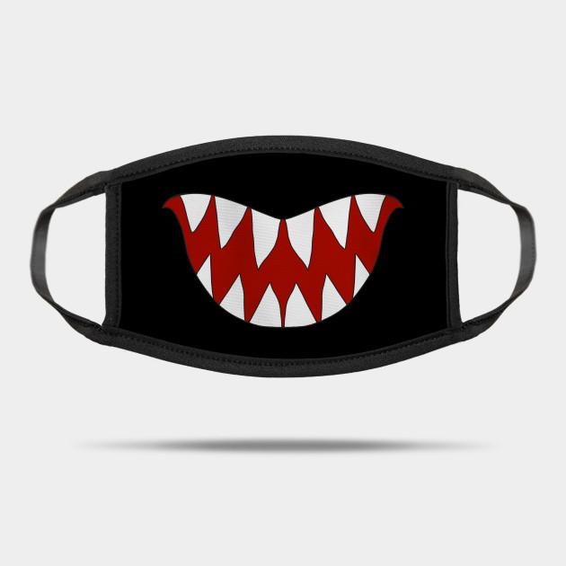 Funny Cartoon Monster Big Sharp Teeth Smile Teeth Mask Teepublic Funny Monstersmile Cartoony Cartoonmonst Funny Cartoon Cartoon Monsters Smile Teeth
