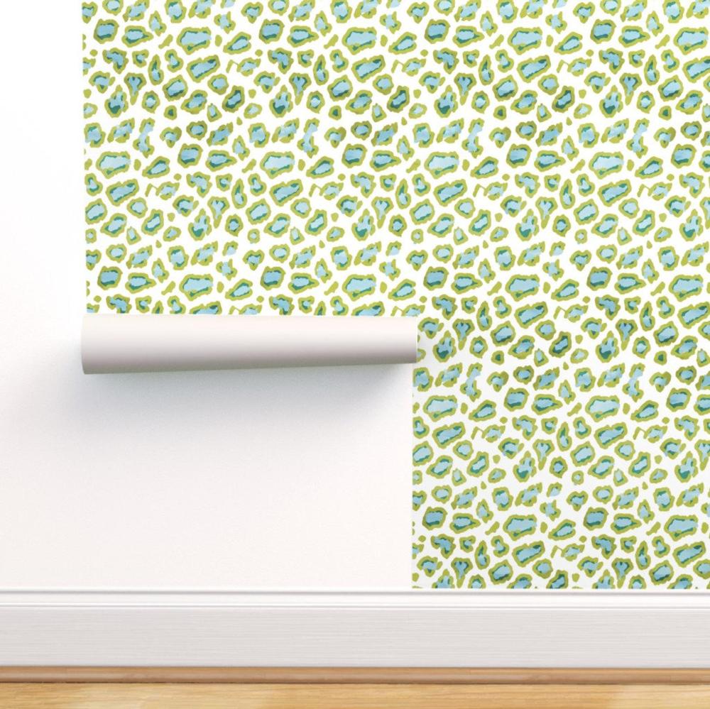 Leopard Wallpaper Etosha Leopard Blue Green By Etsy Self Adhesive Wallpaper Leopard Wallpaper Green Watercolor Wallpaper