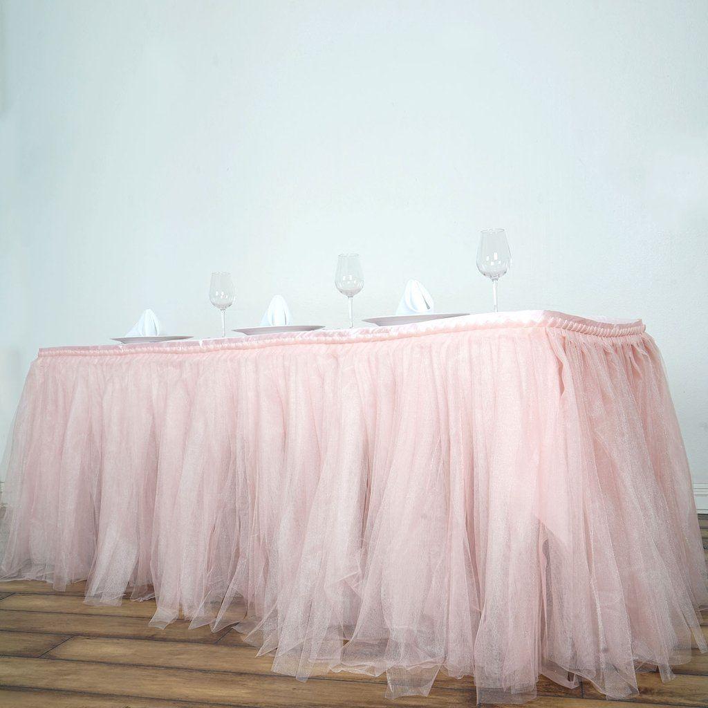 17 ft rose gold blush two layered pleated tulle tutu table skirt rh pinterest com
