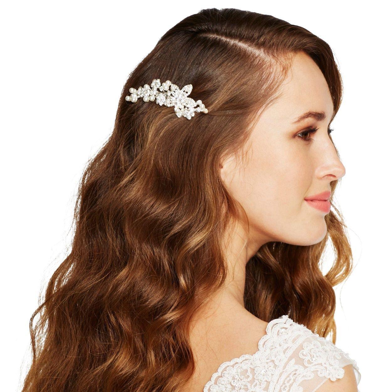 pearl and crystal cluster flower hair comb   flower hair and hair