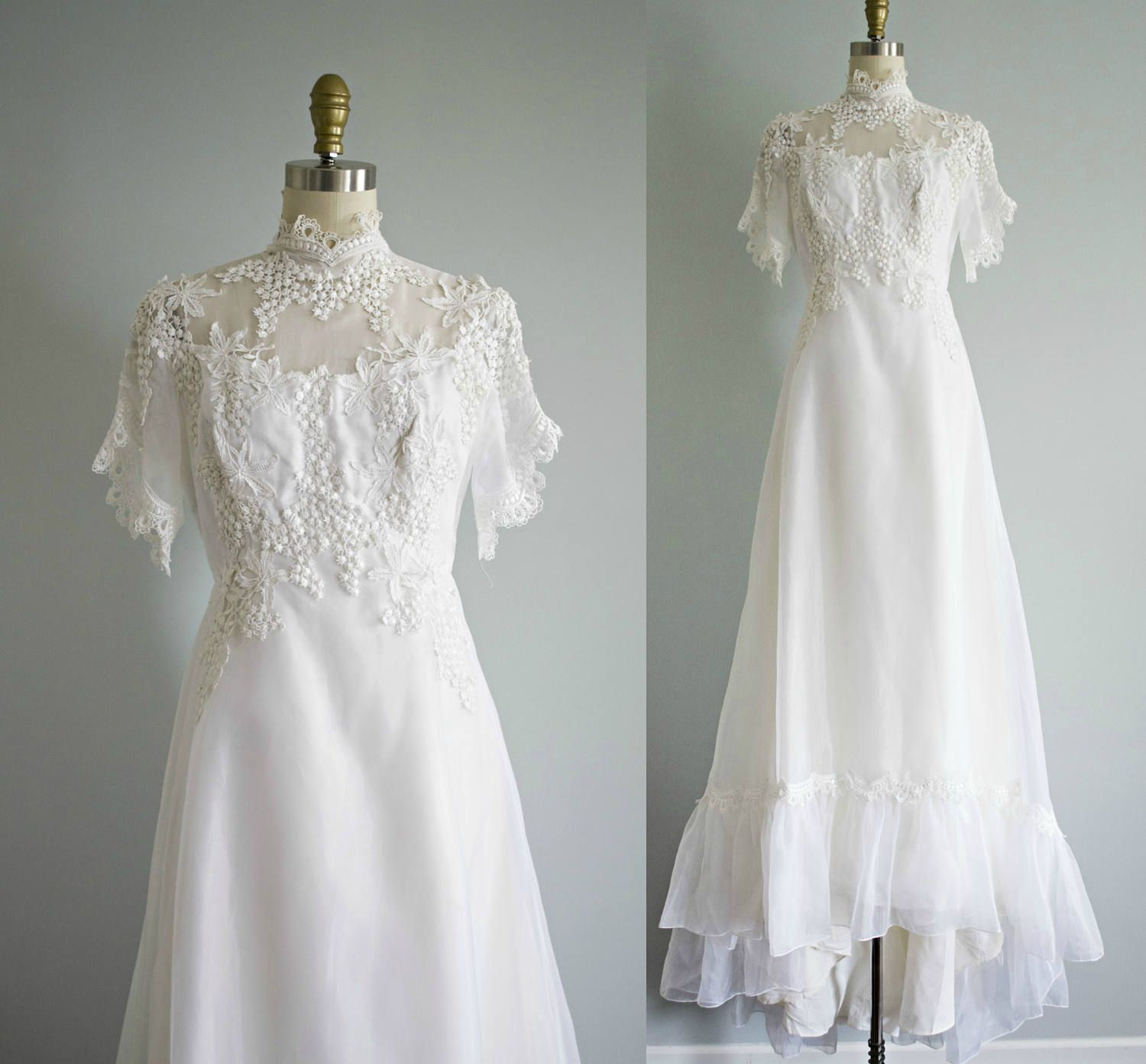 Vintage 70s Lace Wedding Dress White Lace Chiffon Short Etsy Wedding Gowns With Sleeves Wedding Dresses Lace Wedding Dresses [ 1392 x 1500 Pixel ]